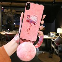 苹果xs max手机壳个性创意iphone6splus全包防摔刺绣麋鹿套六带挂绳挂脖式7 i7/i8 4.7寸 火烈鸟+