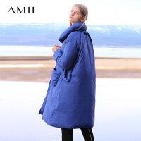 【券后价:634元】Amii极简时尚个性90白鸭绒羽绒服女2019冬季新款立领宽松加厚外套