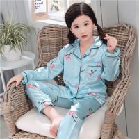 儿童睡衣女夏季长袖女童薄款空调服小女孩家居服宝宝套装