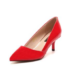 【3折到手价149.7元】St&Sat/星期六春新款优雅羊皮浅口尖头高跟单鞋女鞋SS61115714