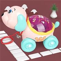 宝宝拖拉玩具机器狗走路拉绳儿童拉拉车拉拉线狗拖着走的车