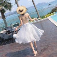 白色一字肩连衣裙2018女夏露背海边度假裙韩国仙沙滩裙仙女