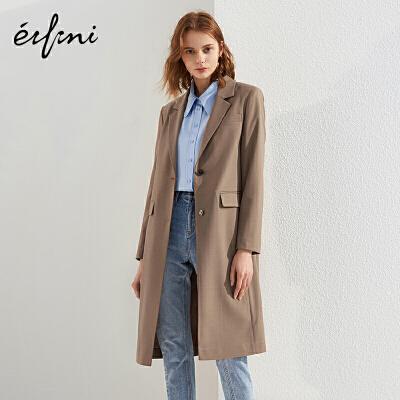 2件4折 伊芙丽2018春装宽松单排扣风衣女大衣休闲长款西装外套女
