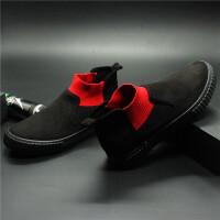 春季帆布鞋韩版袜子鞋男士一脚蹬皮面休闲鞋新款个性短靴高帮潮鞋 39