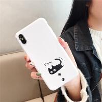樱花粉小黑猫 iphone7/8plus手机壳 苹果情侣壳 i6s XR批发