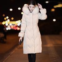 韩版过膝中长款羽绒服女大毛领修身显瘦时尚气质收腰纯色外套潮 M 建议80-100斤