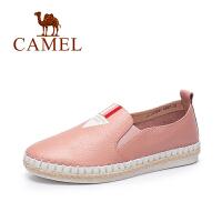 Camel/骆驼女鞋 2017春夏新款 简约休闲圆头平底单鞋 编织渔夫鞋