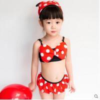 儿童泳衣女孩女宝宝分体比基尼裙式泳装可爱米妮中小童温泉游泳衣可礼品卡支付