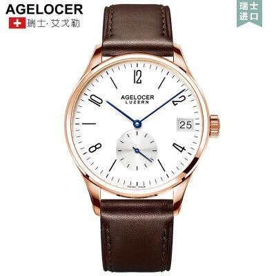 Agelocer艾戈勒全自动手表男简约皮带机械表真皮防水男表时尚潮流手表1支持七天无理由退换货,零风险购