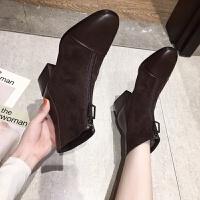 短靴女鞋子2019潮鞋新款秋冬百搭女靴子韩版复古前拉链粗跟马丁靴