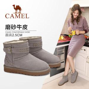 camel/骆驼女鞋 2017冬季新款 时尚铆钉短筒女靴牛皮平跟防滑保暖雪地靴
