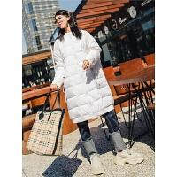 七格格白色羽绒服女2018新款中长款时尚冬季韩版两面穿羽绒内胆潮