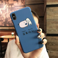 卡通猪事顺利手机壳iphone8/7plus防摔6SP半包XR硬批发 苹果XR-6.1寸蓝底 猪事顺利