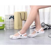 新款洞洞鞋女平底沙滩女凉鞋低帮塑料夏季白色缕空护士鞋