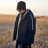 英爵伦 2019冬季新品羽绒服男 韩版白鸭绒 青年冬装刺绣连帽外套