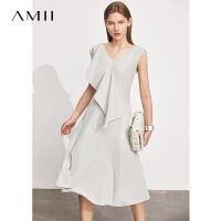 Amii极简气质女神范不对称荷叶边V领连衣裙2021夏新款背心裙子女