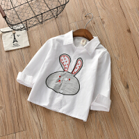 童装女童衬衫长袖新款童装百搭儿童春秋猫咪白衬衣中小童上衣兔子 白色 兔子