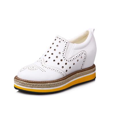 ELEISE美国艾蕾莎春季上新003-V122-5韩版松糕底女士乐福鞋