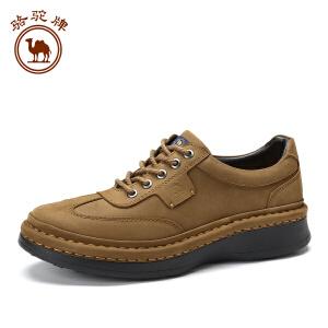 骆驼牌男鞋新品日常手工缝制休闲皮鞋男士舒适耐磨系带低跟防滑