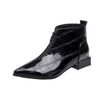 靴子女黑色短靴女春秋2019新款英伦前拉链马丁靴百搭单靴冬季粗跟 黑色
