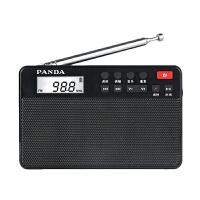 熊猫6207收音机老人随身听可充电插卡mp3老年人半导体fm便携式迷你钟控播放器唱机可录音闹钟时间显示 黑色
