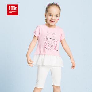 jjlkids季季乐童装女童卡通猫图案休闲薄款套装