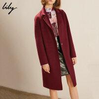 【开学季到手价:739元】 Lily春秋新款全羊毛西装领毛呢外套双面呢大衣