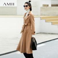 Amii极简英伦赫本风帅气毛呢外套女100%羊毛2018冬修身双面绒大衣.