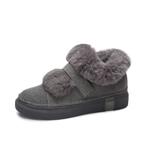 camel/骆驼雪地靴女  秋冬新品 舒适休闲保暖绒毛魔术贴平跟圆头短靴