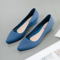尖头雨鞋女时尚款外穿浅口韩版果冻鞋女士水鞋时尚胶鞋益 蓝色 偏小一码