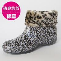 韩版果冻时尚雨鞋女士低帮短筒水靴单鞋水鞋胶鞋防水雨靴套鞋 +棉套