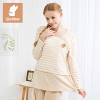 威尔贝鲁 孕妇哺乳睡裙春夏纯棉短款哺乳睡袍休闲月子喂奶利发国际lifa88裙