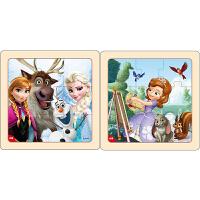 迪士尼拼图玩具 9片木制框拼标准版二合一(冰雪奇缘2670+苏菲亚2671)
