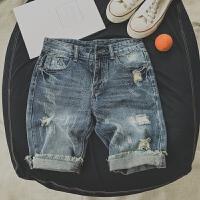 牛仔短裤男士夏款薄款五分裤男5分马裤夏天破洞中裤宽松大码裤子