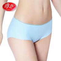 4条浪莎无痕冰丝女士内裤纯棉裆部一片式夏季薄款中腰性感低腰