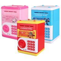 韩国变形警车POLI网红保险柜存钱罐密码自动卷钱纸币硬币超大空间过家家玩具