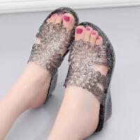 夏季凉拖鞋女外穿高跟水晶塑料一字拖防滑坡跟厚底海边度假沙滩鞋 黑色 103