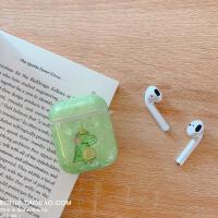 抹茶绿卡通鳄鱼贝壳纹airpods2保护套苹果蓝牙耳机硅胶防摔女通用