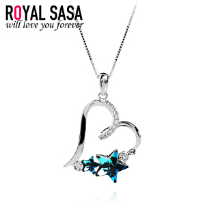 皇家莎莎925银项链女日韩版简约心形仿水晶吊坠锁骨链送女友生日礼物