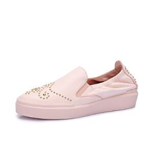 Camel/骆驼女鞋 2018春季新品 休闲舒适铆钉平跟小白鞋简约单鞋女