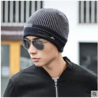 时尚包头帽针织毛线帽护耳护脖套头帽保暖套装男士帽子加厚加绒保暖