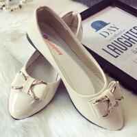 蝴蝶结平跟低跟平底浅口漆皮单鞋瓢鞋船鞋低帮鞋工作鞋女鞋子H1