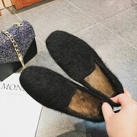 网红毛毛鞋秋冬2019新款平底女单鞋豹纹棉瓢鞋兔毛豆豆鞋女面包鞋