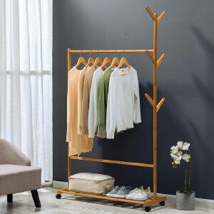 衣帽架 落地卧室客厅创意简约现代挂衣架简易家用带滚轮衣服架一架多用省空间收纳架