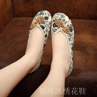 老北京布鞋女平底舒适绣花鞋中老年汉服鞋子防滑古风妈妈鞋软底女