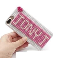 DIY�e木iPhone xs保�o�ぷ帜缸远��x拼法Apple手�C硬�けWo套 6/6s(粉+白�w粒) 字可�Q