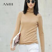 AMII[极简]女装春装新款潮修身套头打底高领针织衫毛衣冬