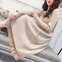 韩版半高领连衣裙中长款过膝打底衫厚秋冬新款蕾丝毛衣裙女套头