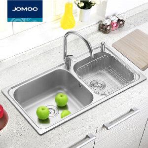 【每满100减50元】九牧(JOMOO)水槽双槽套餐厨房洗菜盆304不锈钢水盆加厚洗碗池0641全配02016