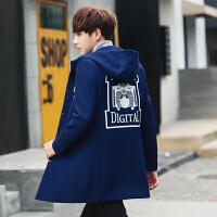 秋冬男式韩版修身连帽毛呢大衣印花潮流青年中长款休闲外套上衣